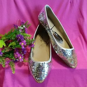 Sparkly Fun Sequin Gold and Silver Flats